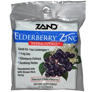 Zand, Elderberry Zinc, Herbalozenge, Sweet Elderberry, 15 Lozenges