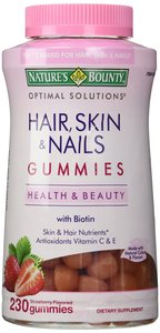 New Nature's Bounty Hair Skin & Nails 230 Chewable Gummies Biotin & Antioxidants