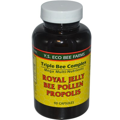 Y.S. Eco Bee Farms  Royal Jelly  Bee Pollen  Propolis  90 Capsules